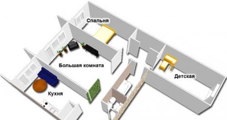 Мы живём в большой трёхкомнатной новой квартире!